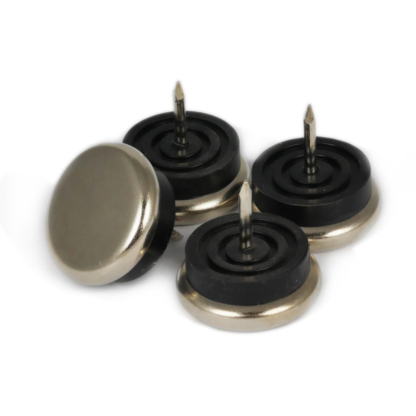 Pattini Feltrini Pellicole Protettivi Tappetini di metallo di alta qualità con chiodo e tampone gommino, 20 mm Ø, 5 mm spessore - 8 pezzi