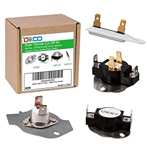 DIKOO 279769 Dryer Thermal Cut-Off Kit and 3392519 Dryer Thermal Fuse and 3387134 Dryer Thermostat Kit for Whirlpool Kenmore Maytag Dryer Replaces 3977394 3390291 AP6008325 PS345113
