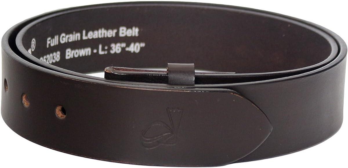 QHA Mens Snap On Belt Strap Genuine Full Grain Leather Casual Designer No Buckle