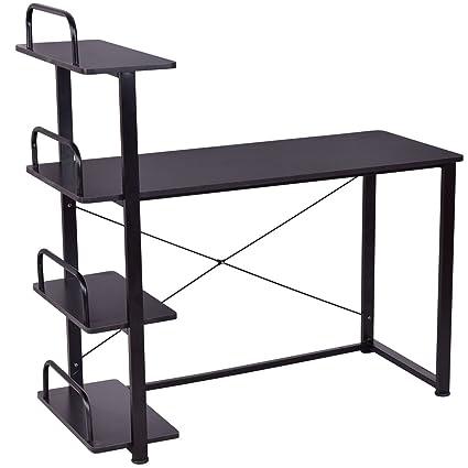 Ordenador escritorio estantería con 4 estantes de ordenador ...