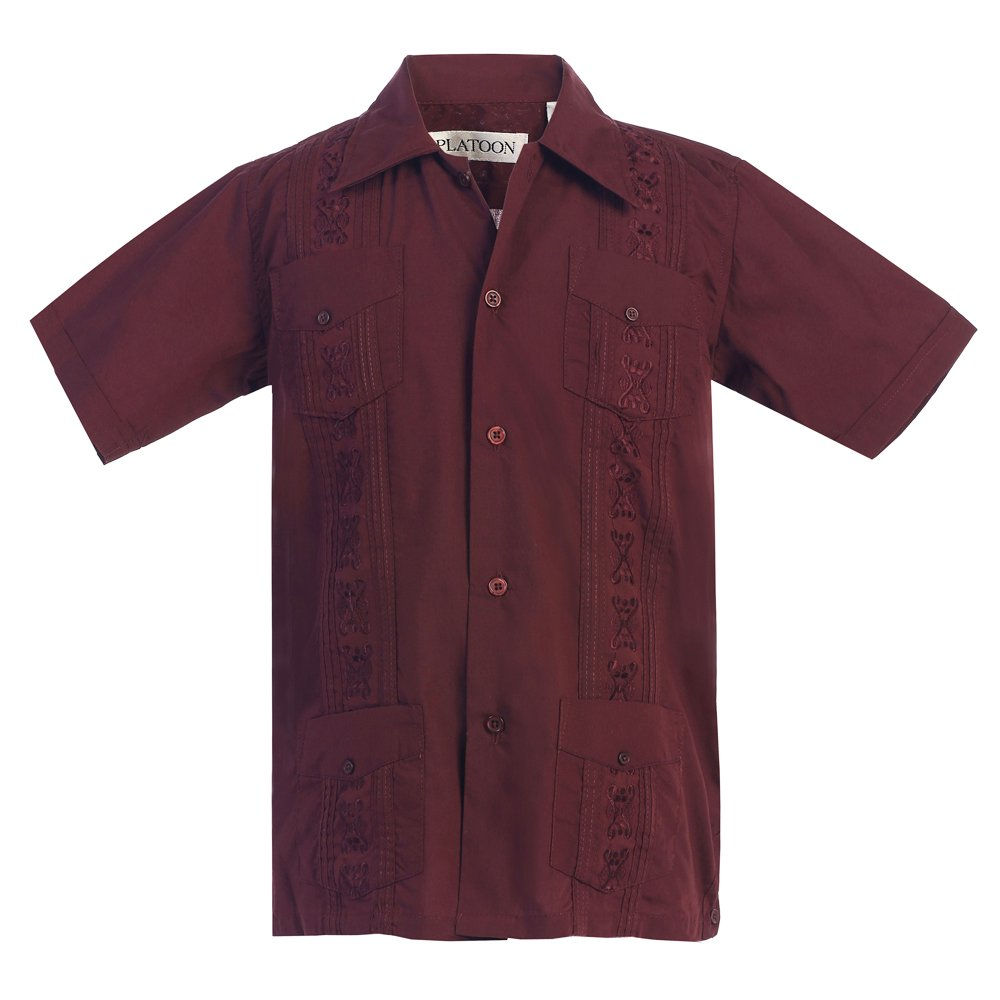 Kids Boys Platoon Guayabera Short Sleeve Cuban Shirt Wedding Beach - Toddlers & Juniors (4, Burgundy)