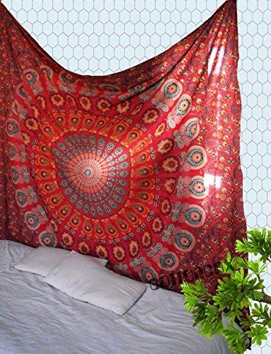 Red Peacock Mandala Tapestry Dorm Decor Hippie Wall Hanging Tapestries Bedding Bohemian Throw Bedspread Bed Cover Hippie Wall Tapestry Picnic Blanket Beach Towel by Jaipur Handloom by Jaipur Handloom (Image #1)