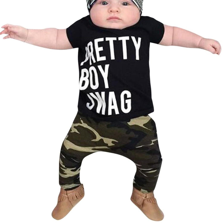 Moonker Baby Outfit Infant Toddler Boy Girl Letter Print T Shirt