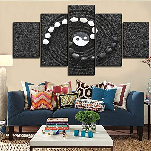 Wall Art Modular HD Picture On Canvas Printing Type 5 Piece Black & White Sand Stone Yin & Yang Poster Modern Home - 160 Print Black Type