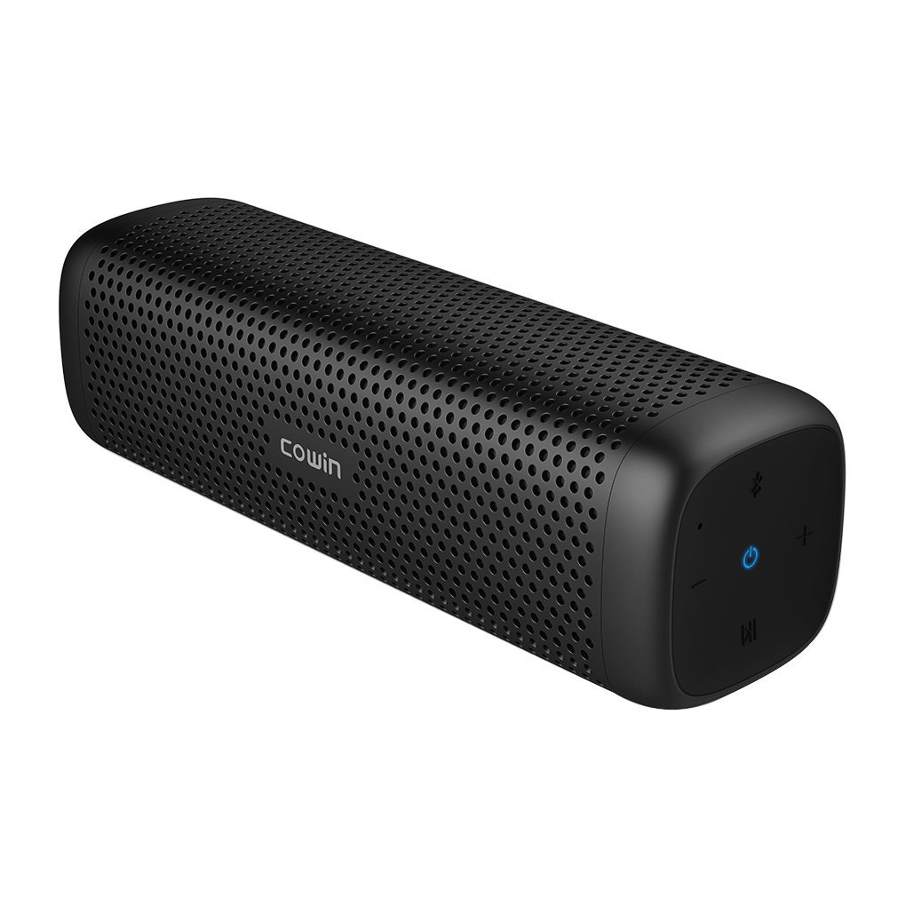 COWIN 6110 Bluetooth Speakers, Portable Wireless Speaker 4.1 with 16W Enhanced Bass, High-End Fashion Aluminum-Alloy Shell, TF Card Support - Black MD-6110