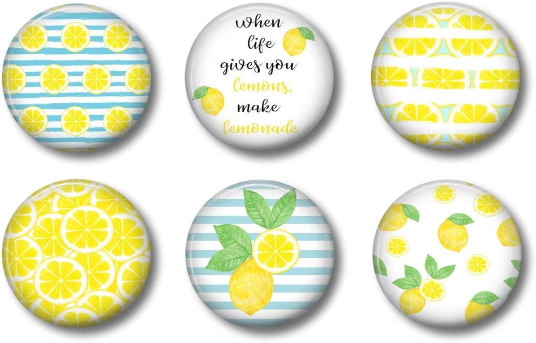 Lemon Magnets - Cute Locker Magnets For Teens - For Work School Kitchen Whiteboard Office or Fridge - Gift Set