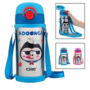 CILLE 16 oz Kids Insulated Water Bottles with Straw and Shoulder Strap + Extra Straw, Girls & Boys Gifts, Leak Proof Vacuum Stainless Steel Metal Double Walled Water Bottle for Toddler (450ML Blue)
