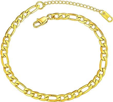 ChainsHouse Edelstahl//925 Silber Panzer Armband//Fu/ßkette Figarokette 16cm 22cm Armskette Fu/ßkettchen mit Geschenkebox f/ür Damen Herren