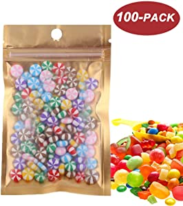 Wekoil 100 Pcs Mylar Bags Zipper Wrapper Plastic Vacuum Pouch Heat Sealable Bags Mini Ziplock Foil Bags for Food Storage Samples Coffee Candy Foil Lined Grip Seal Wrap 8x13cm (3.2x5 inch)