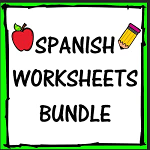 Spanish Worksheets Words Vocabulary Numbers Colors Fruits 5 Page Bundle (Kindergarten, 1st, 2nd, and 3rd Grade)