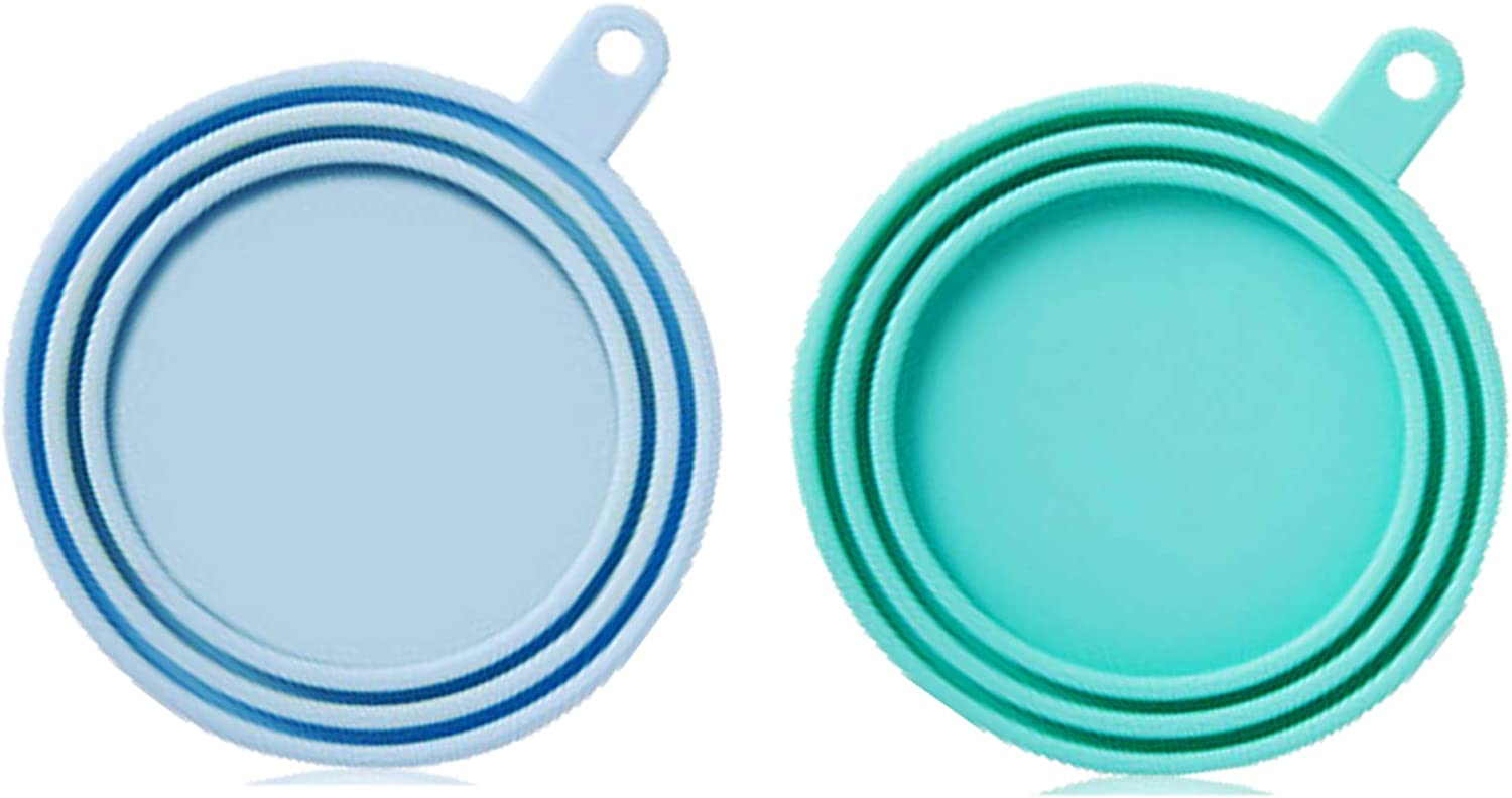 WAFJAMF Silicone Pet Can Covers,Dog Cat Food Can Lids, Universal BPA Free,Fit Multiple Sizes Dishwasher Safe-2 Pack