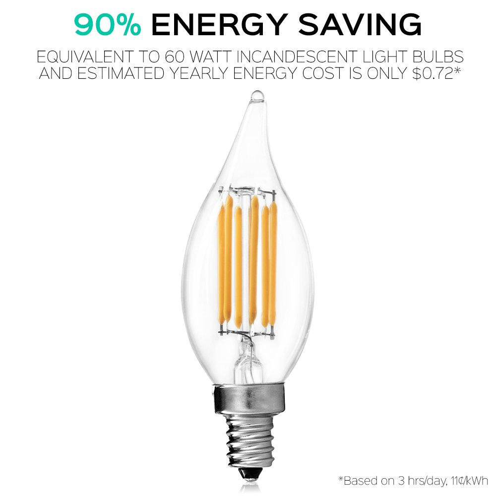 60W Equivalent Flame Tip UL Listed LED E12 Base 650 Lumens Luxrite Filament LED Candle Bulb 2700K Warm White 10-Pack 6W LED Edison Chandelier Bulb
