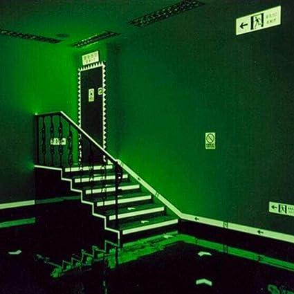 Cinta autoadhesiva de 3 colores de PVC luminoso para visi/ón nocturna que brilla en la oscuridad color azul y verde 4 cm