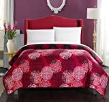 Chic Home 1 Piece Judith Boho Inspired Reversible Print Quilt Set, Twin, Red