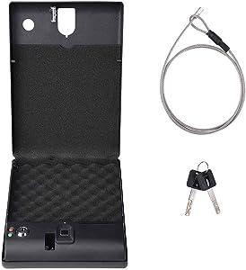 Yescom Electronic Gun Safe Security Box Fingerprint Lock Cable Cash Pistol Car Home
