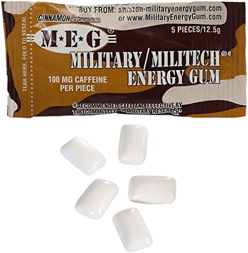 MEG – Military Energy Gum 100mg of Caffeine Per Piece Increase Energy Boost Physical Performance Cinnamon 6 Pack 30 Count