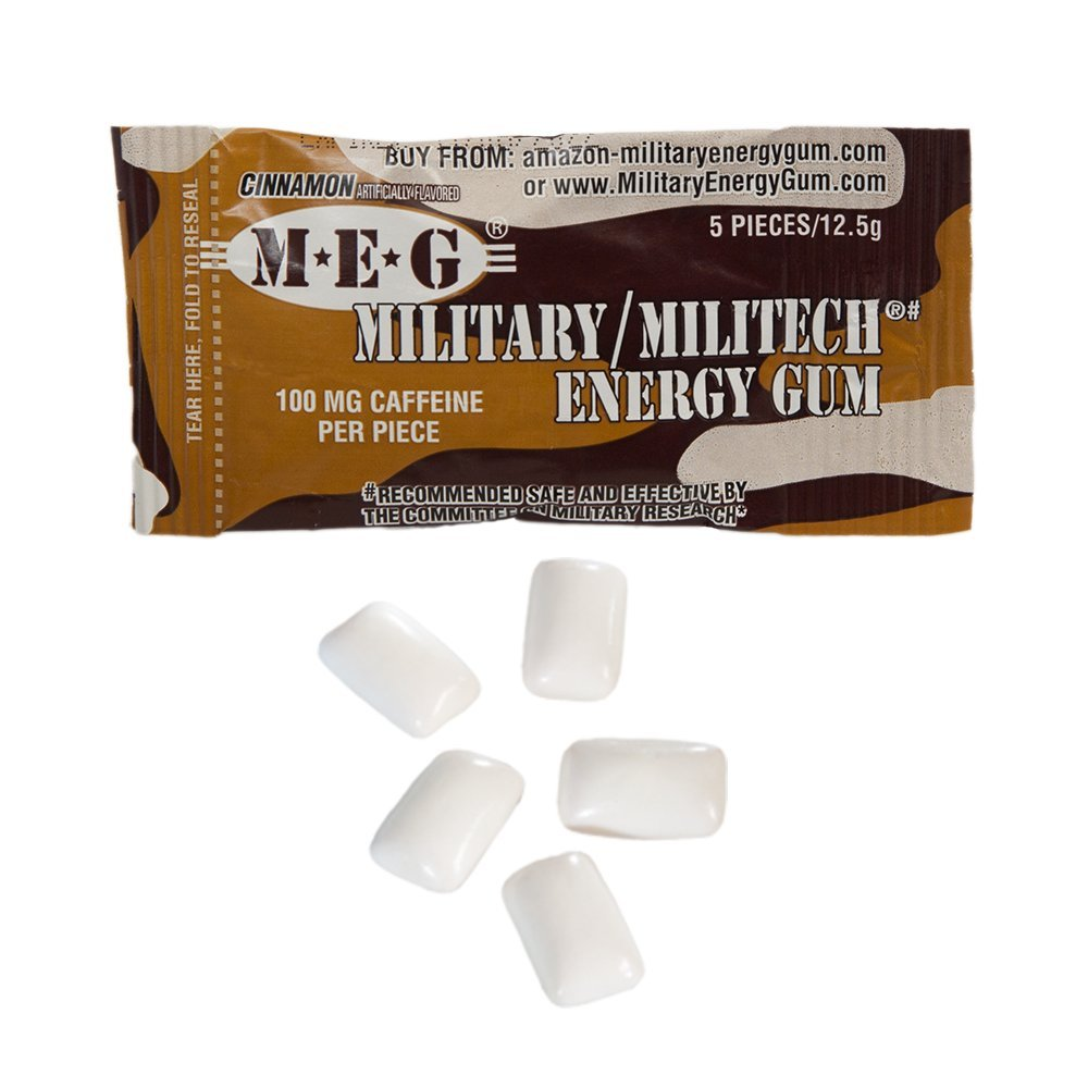 MEG - Military Energy Gum | 100mg of Caffeine Per Piece + Increase Energy + Boost Physical Performance + Cinnamon 24 Pack (120 Count) by MEG (Image #2)