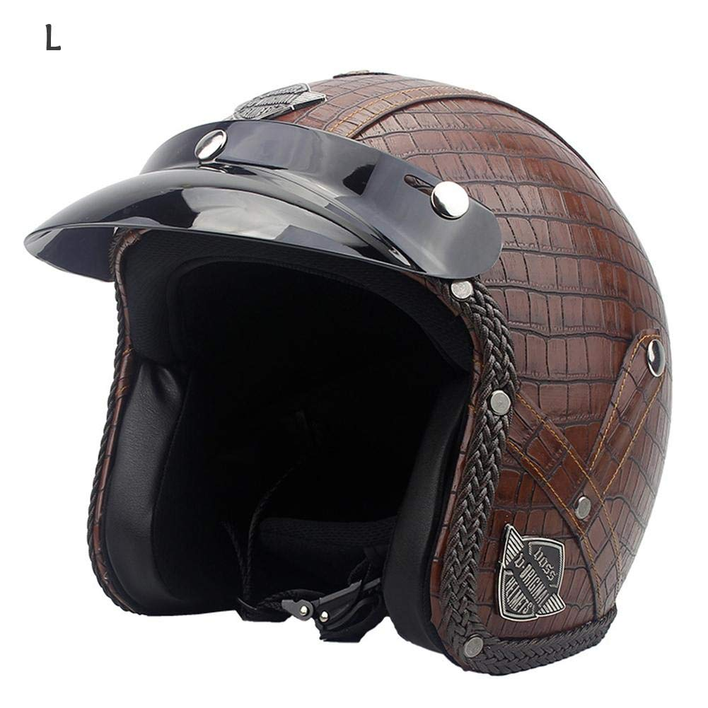 3/4 Casque de moto, haodene Casque modulable PU Leather Harley Helmet pour motorcycle, scooter, Scooter Touring CafeRacer