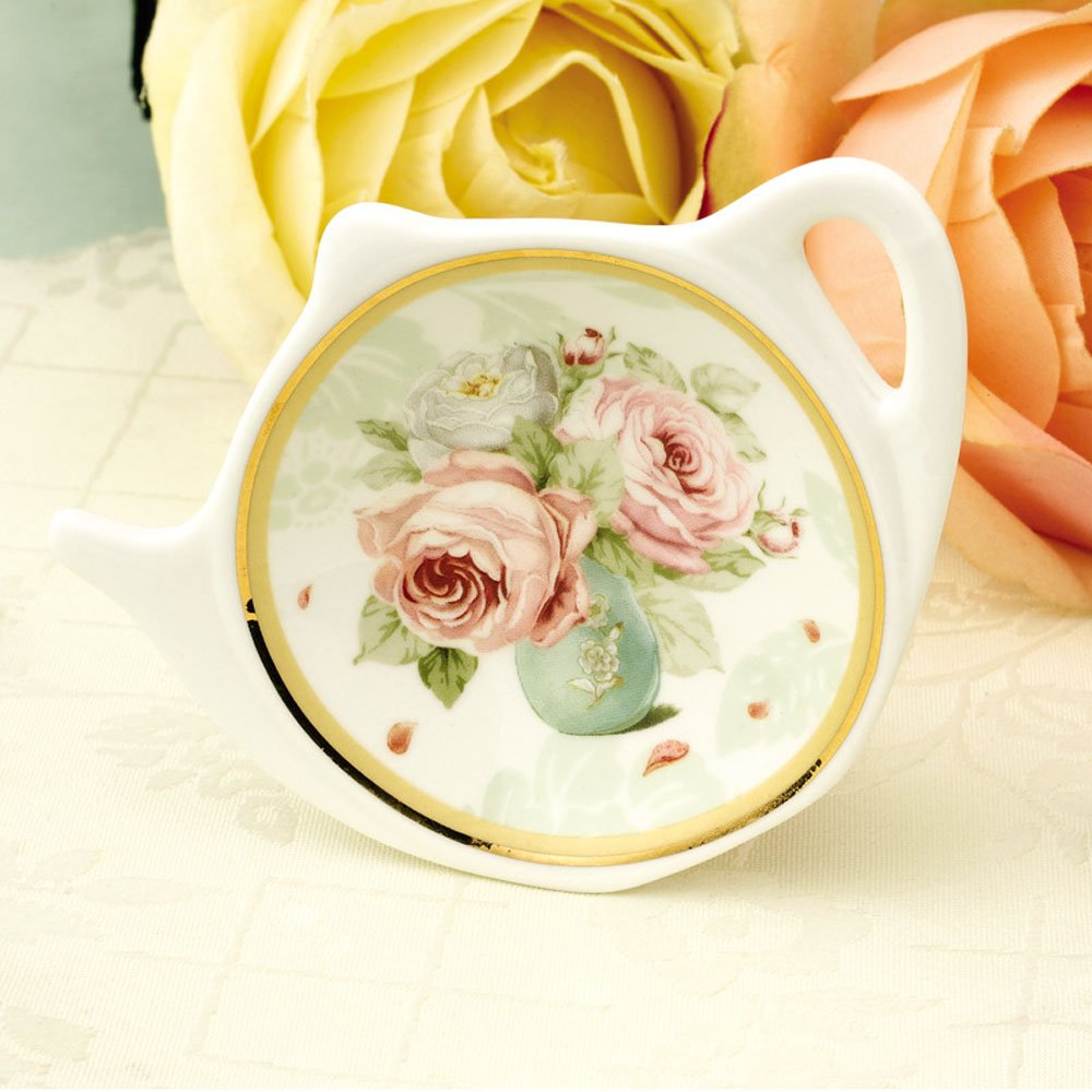 White Porcelain Ceramic with Flower Trim Gold Rim Teapot-Shaped Tea Bag Holder Tea Bag Coasters, Spoon Rests; Classic Tea Saucer Seasoning Dish Set by Linlins (Image #5)