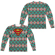 Superman Shield Sweater (Front Back Print) Mens Long Sleeve Sub Shirt