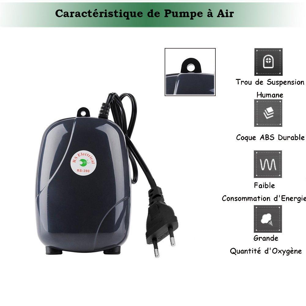Yakamoz - Bomba de aire portátil de 5 W, bomba de oxígeno hidropónica para acuario, aireador de oxígeno con 2 salidas de aire para acuario pequeño, ...