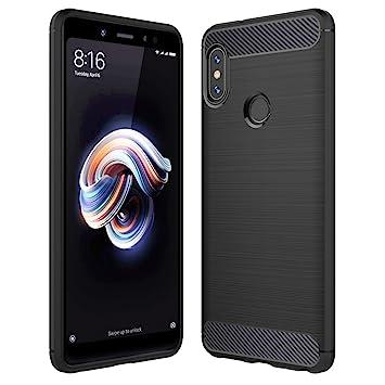 Anjoo Funda Xiaomi Redmi Note 5, Silicona TPU Fundas para Redmi Note 5 Pro, Anti-choques, Carcasa con Fibra de Carbono (Negro)