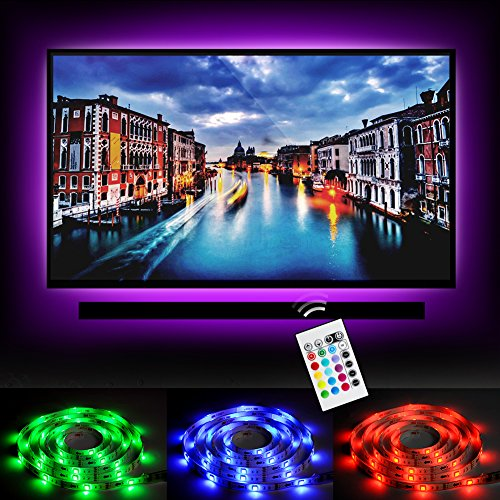 "Bias Lighting LED TV Backlight Strip Emotionlite USB Powered Multi Color Changed RGB Tape for below 32"" Flat Screen HDTV LCD and Desktop PC 24keys Remote Controller"