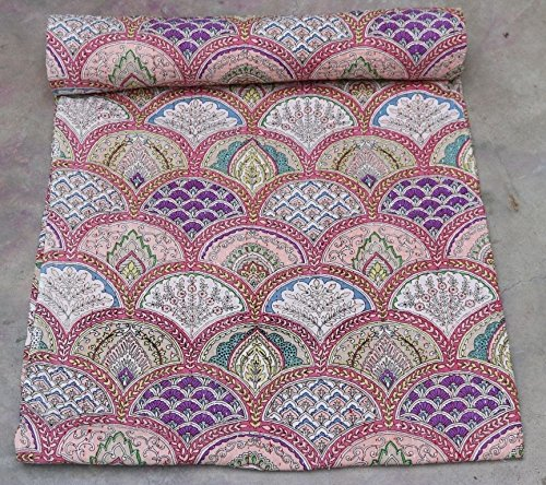 インドハンドメイドデザイナーパターンベッドスプレッドクイーンKanthaキルトCoverlets Throw Bedcover Gudri B075SCSQJ2