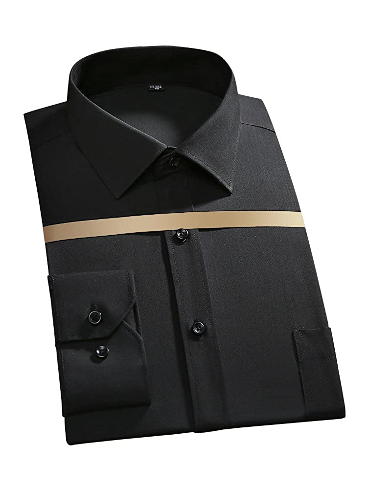 Men's Long Sleeve Regular Fit No Iron Solid Dress Shirt OCHENTA O8010-03