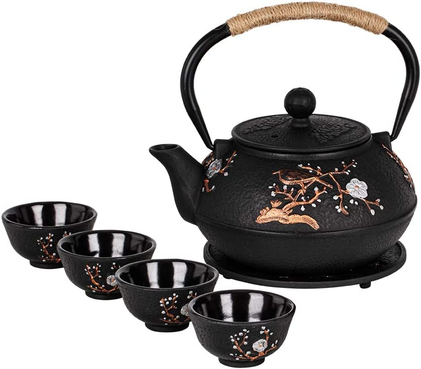 Cast Iron Teapot with Tea Cups Trivet Japanese Style Tetsubin Tea Kettle with Infuser Iron Tea Set Gift for Adult Father Mother Family (Black,Magpie on the Plum Design)