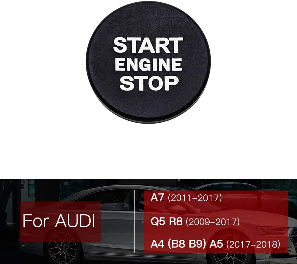 Ceyes Car Engine Start Stop Push Button Auto Ignition Start Button Ignition Switch Button Auto Switch Button Cover Ring Stickers for Audi A7 2011-2017 Q5 R8 2009-2017 A4 B8 B9 A5 2017 2018 Silver