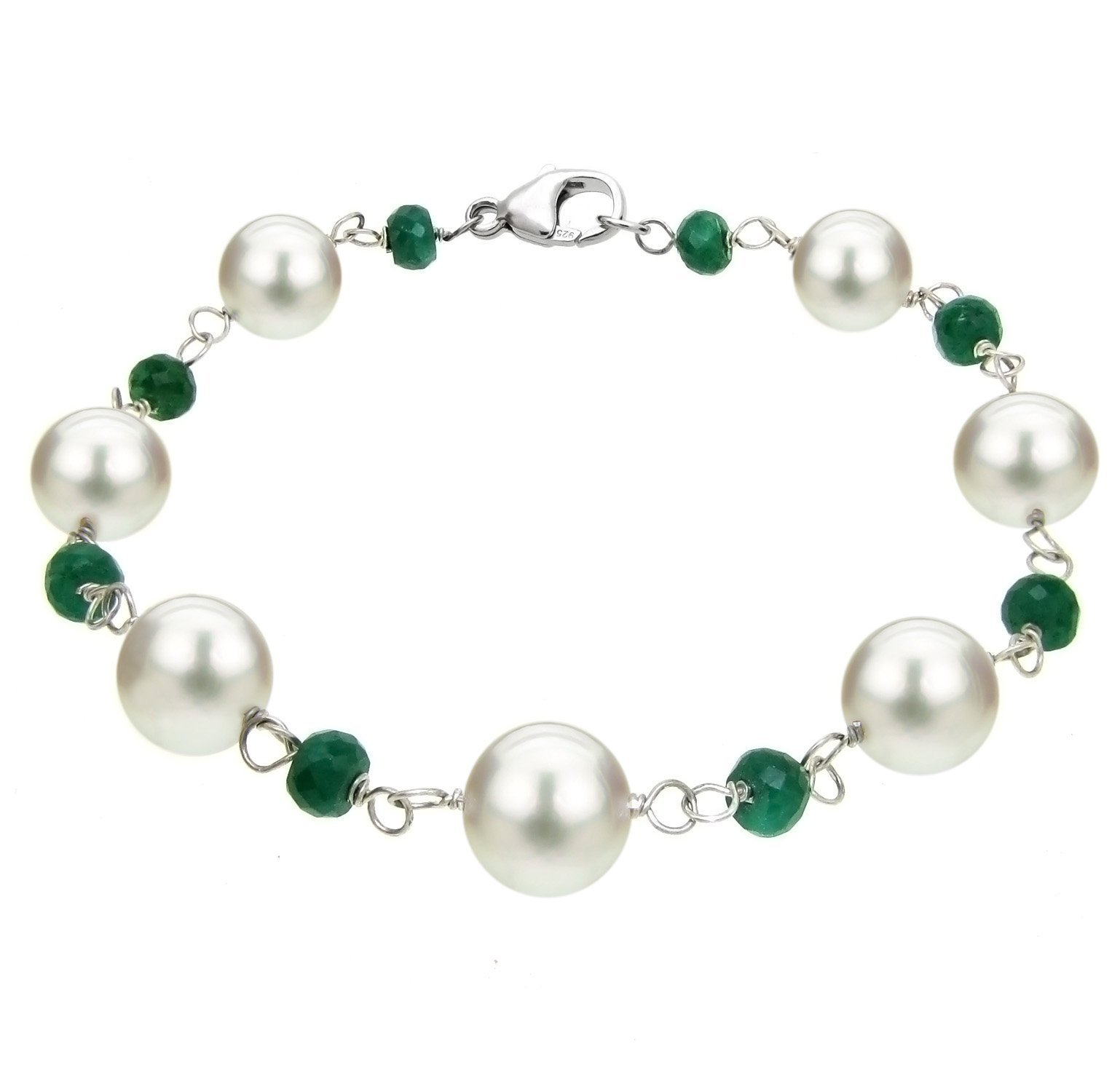 La Regis Jewelry Sterling Silver 8-8.5mm White Freshwater Cultured Pearl 4mm Simulated Green Emerald Bracelet, 7.5''