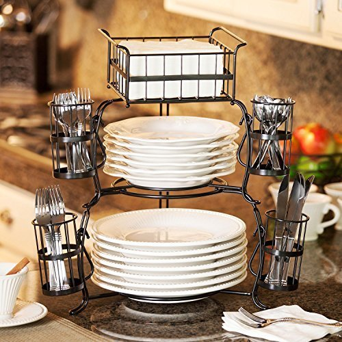 Giftburg 7-Piece Stackable Buffet - Stand Wrought Iron Basket