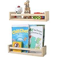 Nursery Bookshelf- Set of 2- Baby Floating Bookshelf or Book Shelf Organizer for Kids Nursery Decor,Wall Shelves for…