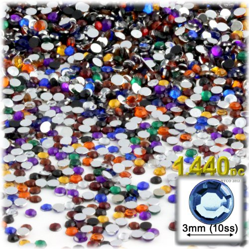The Crafts Outlet 1440-Piece Round Rhinestones, 3mm, Jewel Tone - Jewel Rhinestone Tone