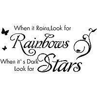 """""""Cuando llueve, busca los arcoíris, cuando está oscuro, busca las estrellas"""". Cita calcomanía de pared cita inspiradora…"""