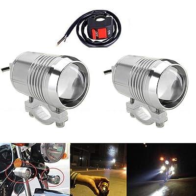 GOODKSSOP 2pcs Super Bright CREE U2 30W LED Spotlight Headlight Work Light Driving Fog Spot Lamp Universal for All Motorcycle ATV Truck With 1pcs ON/OFF Button Switch: Automotive