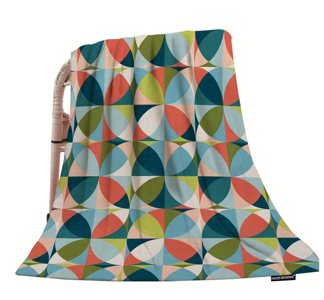 HGOD DESIGNS 幾何学模様スローブランケット ファッション幾何学模様 ミッドセンチュリーモダンカラー ソフト 暖かい 装飾スローブランケット ベッドチェア カウチ ソファ 50インチ×60インチ 40x50 inch Bmakts-M2-572 B07L917CH4 Color-286 40x50 inch
