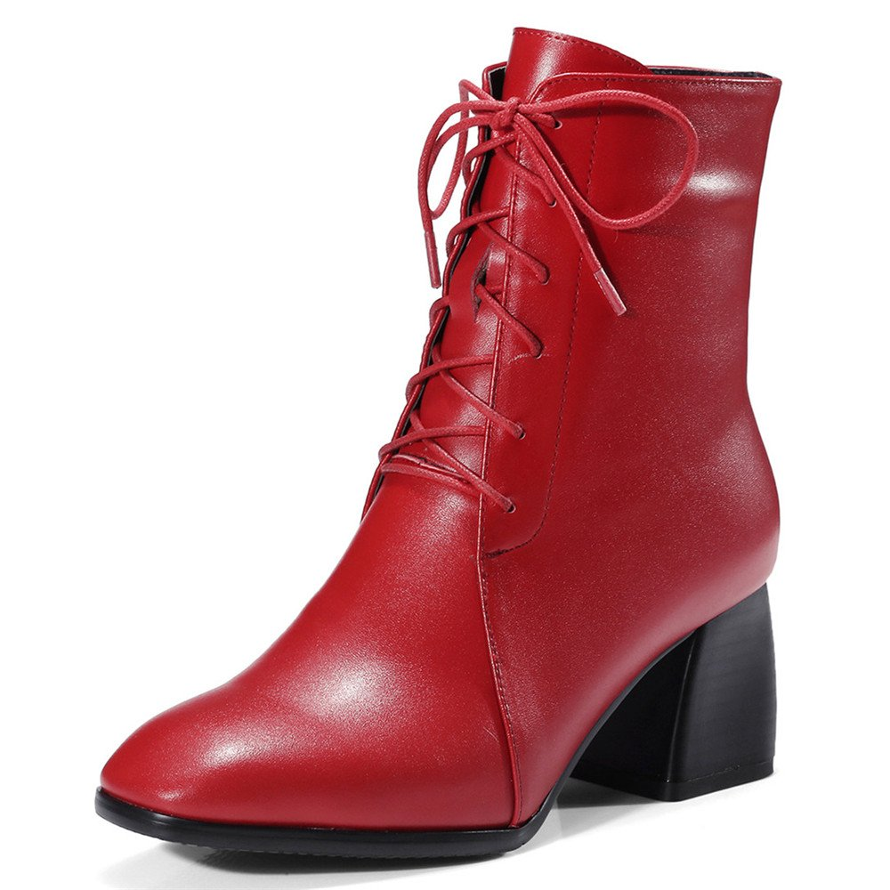 röd Nine Seven Genuine läder Woherrar Woherrar Woherrar Square Toe Block Heel Comfort Work Handgjorda skor  bekvämt