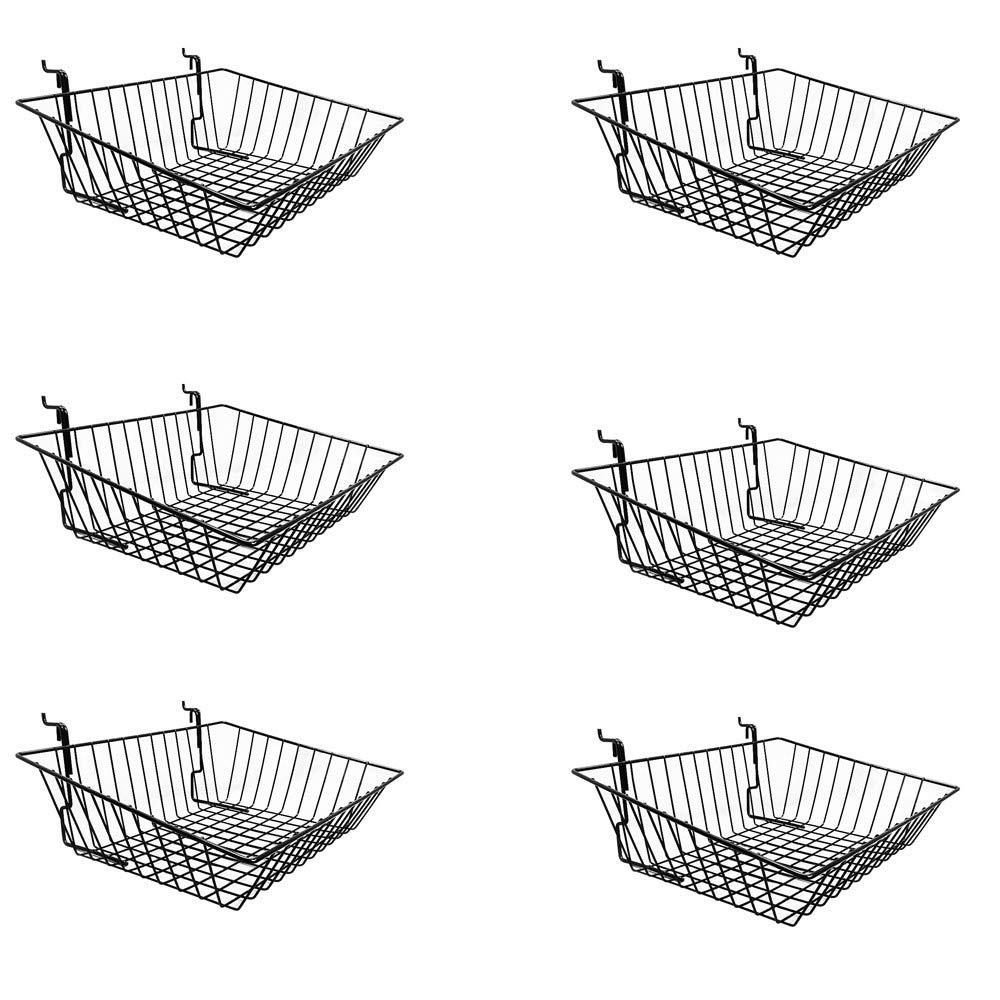 PROLINEMAX 6 Pc Black 15x12x5 Slatwall Gridwall Pegboard Shallow Front Sloping Basket Display Rack Fixture