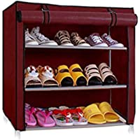 Ebee Foldable Shoe Rack with 3 Shelves (Maroon)