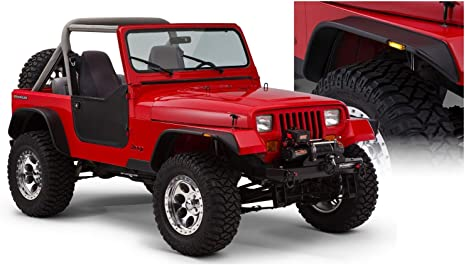 Amazon Com Bushwacker 10924 07 Jeep Flat Style Fender Flare Set Of 4 Automotive