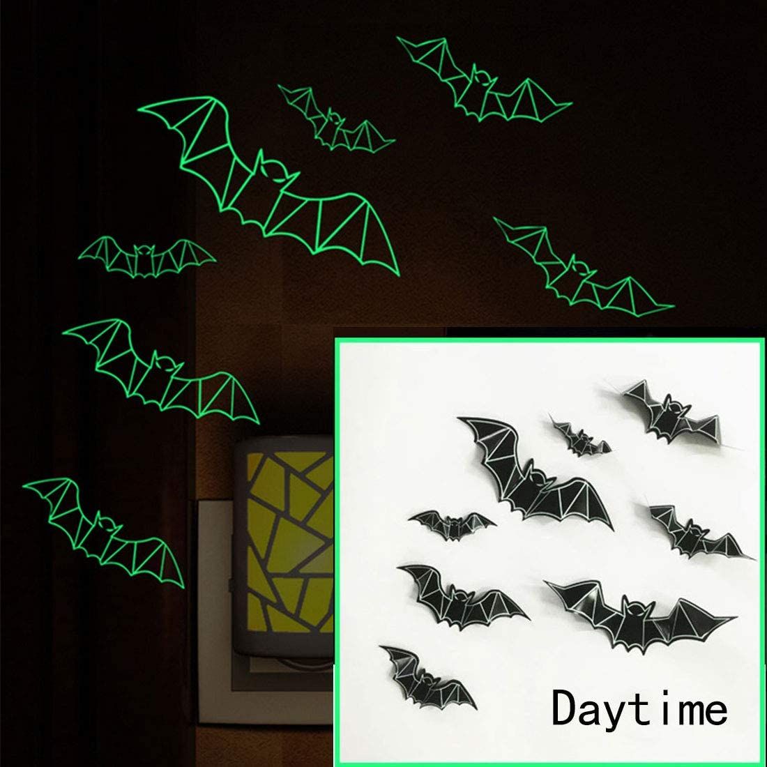 3D Luminous Bats Stickers Halloween Party Supplies reusable Decorative Scary Wall Decal for Party Home Window Clings