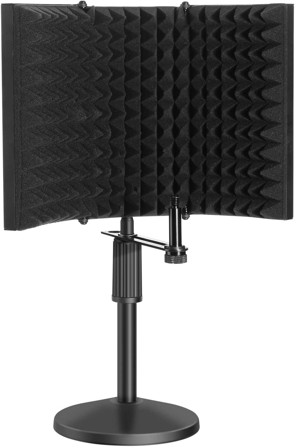 Microphone Isolation Shield Kit, AGPTEK Compact Microphone Isolation Shield with DeskMic Stand, Mic Sound Absorbing Foam Reflector for Sound Recording, Podcasts, Vocals, Singing and Broadcasting