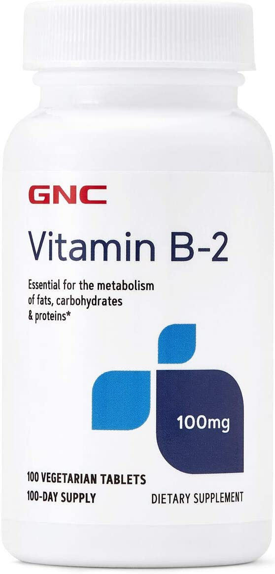 GNC Vitamin B-2 100mg, 100 Tablets, Metabolizes Fats, Carbohydrates and Proteins