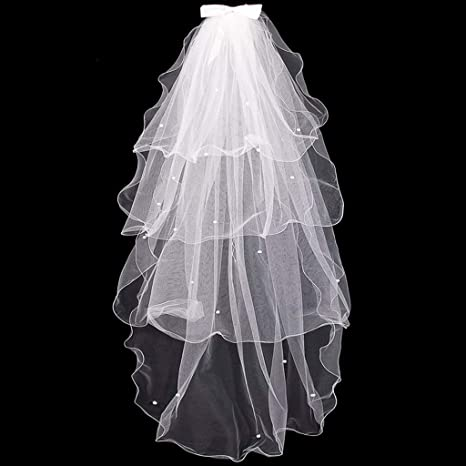 Neu Braut Hochzeit Schleier Brautschleier Blumen Perlen Perle 1,5m
