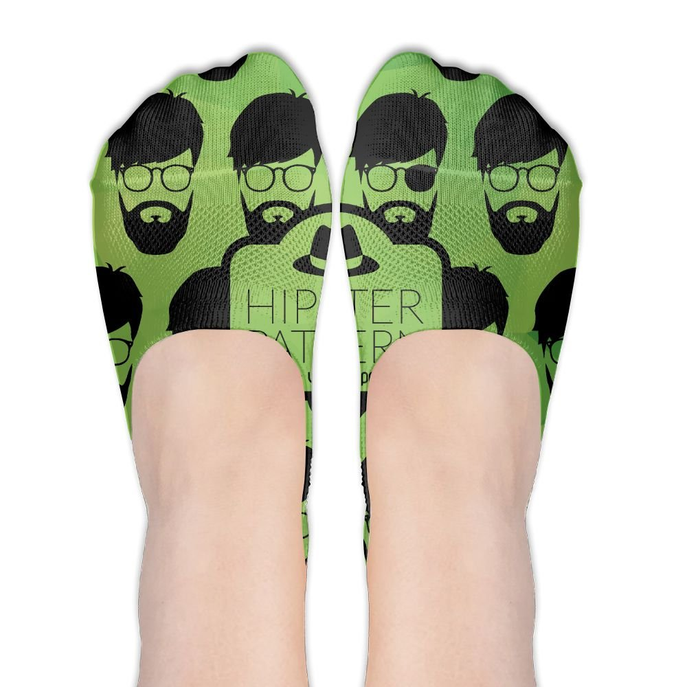 Hipster Face Glasses Women's Non Slip No-Show Casual Liner Low Cut Boat Socks