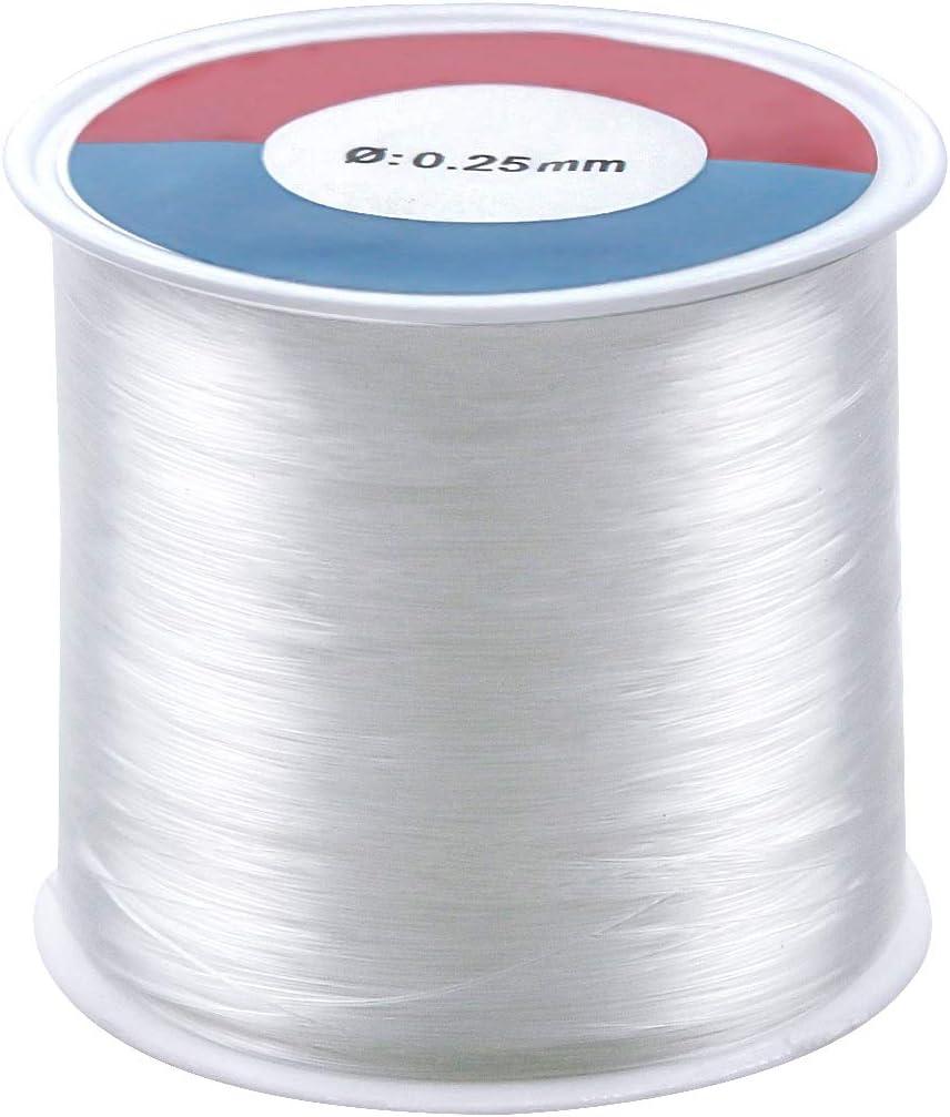 Natuce 500m Hilo de Abalorios Transparente 0.25mm Hilo de Pescar Hilo Invisible de Nylon con Aguja de Abalorios, para Pulsera Collar y Otras Manualidades