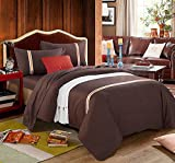 DIDIDD Cotton bed linen quilt coverbedsheet 2 pillowcases comfortable soft warm 1.8m 2.0m,Brown-M