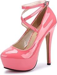 OCHENTA Women Ankle Strap Platform Pump Stiletto Party Dress Heel